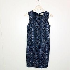 Michael Kors Snake Zipper Detail Sheath Dress